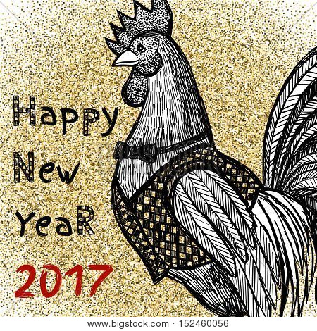 New Year greeting card with hand drawn Rooster on gold glitter background. Chinese new year 2017 - Rooster Year. Rooster in sketch style. Vector illustration