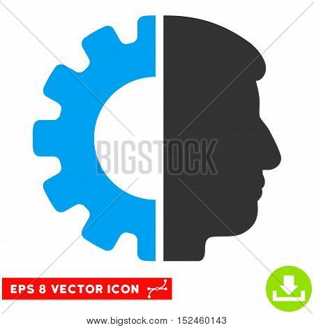 Android Head EPS vector pictograph. Illustration style is flat iconic bicolor blue and gray symbol on white background.