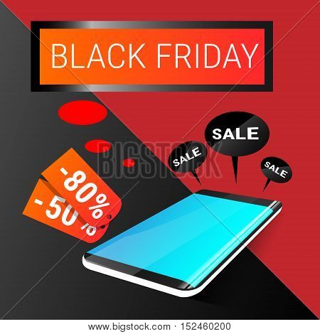 Cell Smart Phone Big Holiday Sale Black Friday Online Shopping Flat Vector Illustration