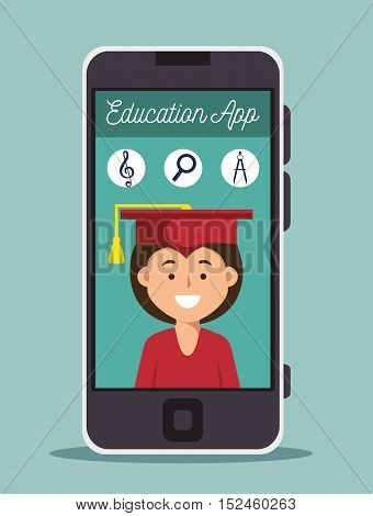 education online girl graduation smartphone design vector illustration