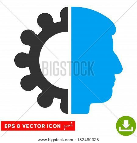 Android Head EPS vector pictogram. Illustration style is flat iconic bicolor blue and gray symbol on white background.
