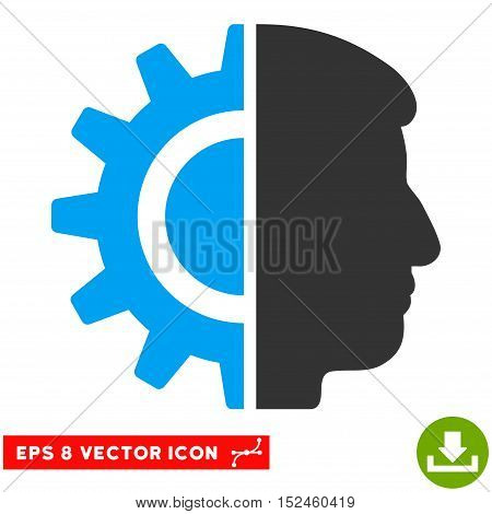 Android Robotics EPS vector pictogram. Illustration style is flat iconic bicolor blue and gray symbol on white background.