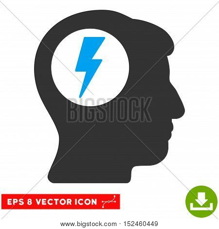 Brain Electric Shock EPS vector pictograph. Illustration style is flat iconic bicolor blue and gray symbol on white background.