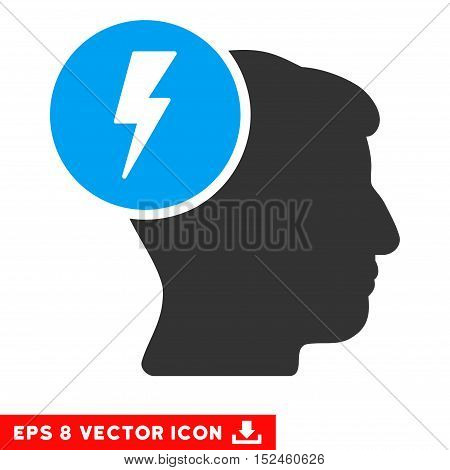 Brain Electricity EPS vector pictograph. Illustration style is flat iconic bicolor blue and gray symbol on white background.