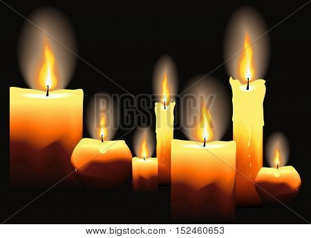 Burning candles on black background. Vector illustration.