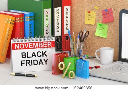 Black Friday concept 3D rendering on the table