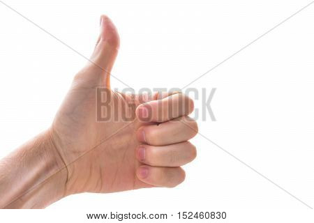 Yes Thumbs Up Caucasian White Hand Male Fingers Balled Fist Gesture Isolated White Background
