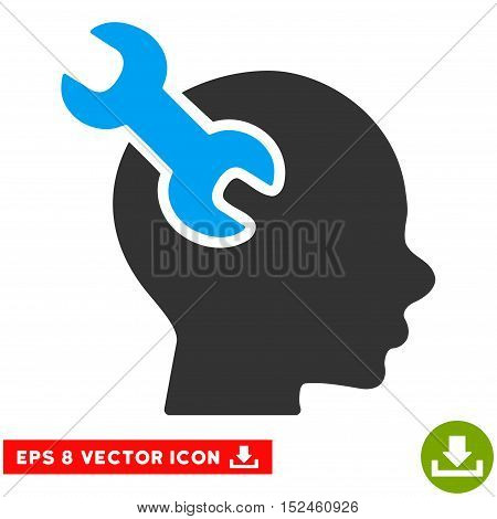 Brain Service Wrench EPS vector pictograph. Illustration style is flat iconic bicolor blue and gray symbol on white background.