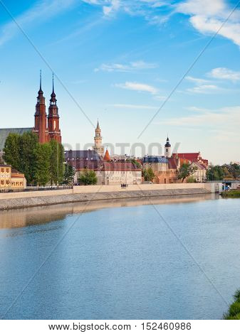 Panorama of the city of Opole Poland