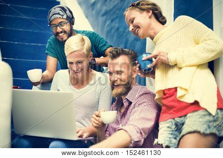 Group Of People Browsing Internet Concept