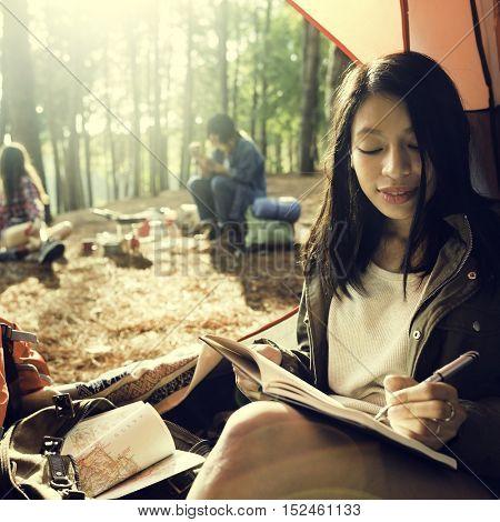 Girl Writing Journal Tent Concept