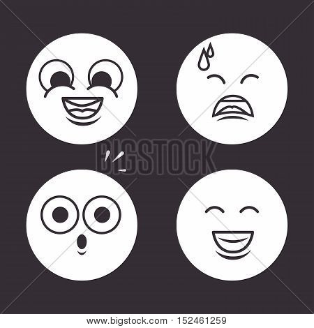 icons emoticons monochrome design vector illustration eps 10