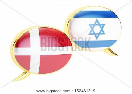 Speech bubbles Danish-Israeli conversation concept. 3D rendering