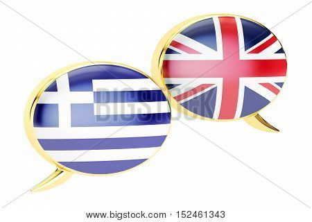 Speech bubbles Greek-English conversation concept. 3D rendering isolated on white background