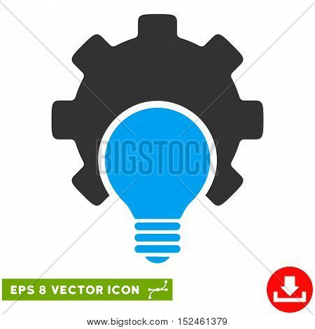 Bulb Configuration Gear EPS vector pictograph. Illustration style is flat iconic bicolor blue and gray symbol on white background.