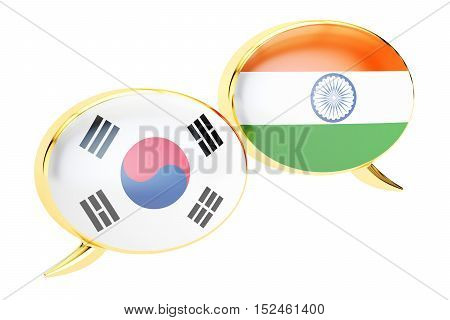 Speech bubbles Korean-Indian translation concept. 3D rendering