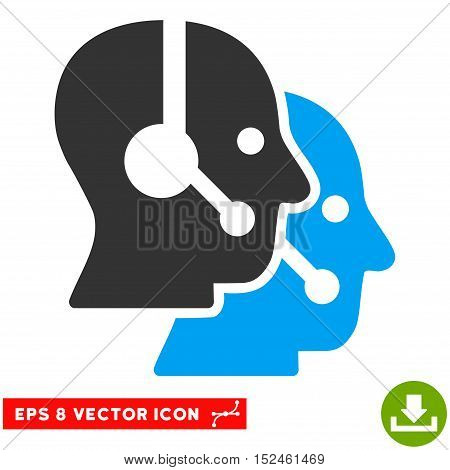 Call Center Operators EPS vector pictograph. Illustration style is flat iconic bicolor blue and gray symbol on white background.