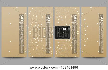 Set of modern vector flyers. Abstract polygonal low poly backdrop with connecting dots and lines, golden background, connection structure. Digital or science vector