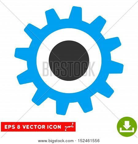 Cogwheel EPS vector icon. Illustration style is flat iconic bicolor blue and gray symbol on white background.