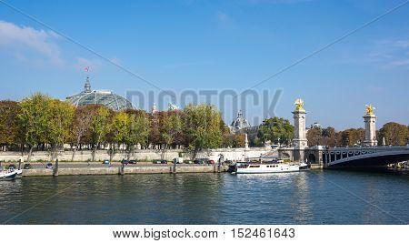 Pont Alexandre III over the river Seine and Grand Palais Paris France
