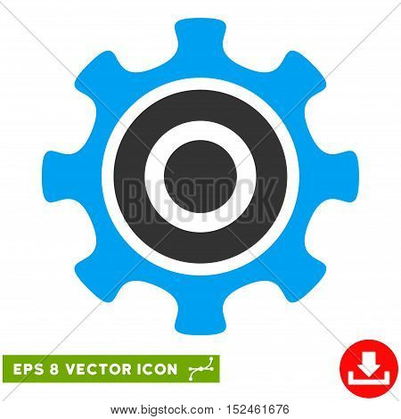 Cogwheel EPS vector pictogram. Illustration style is flat iconic bicolor blue and gray symbol on white background.