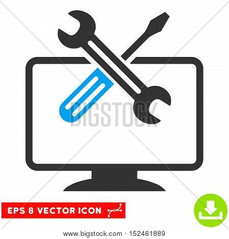 Computer Tools EPS vector icon. Illustration style is flat iconic bicolor blue and gray symbol on white background.