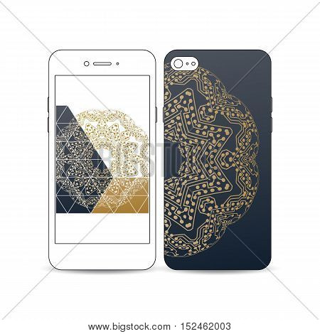 Mobile smartphone with an example of the screen and cover design isolated on white background. Golden microchip pattern, connecting dots and lines, connection structure. Digital scientific background