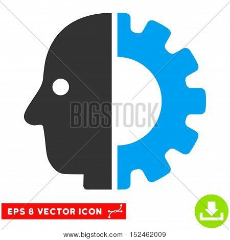 Cyborg Head EPS vector icon. Illustration style is flat iconic bicolor blue and gray symbol on white background.