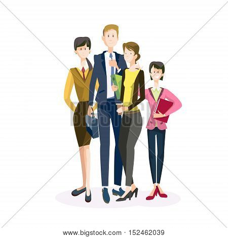 Smiling Business People Group Team Teamwork Collaboration Flat Vector Illustration