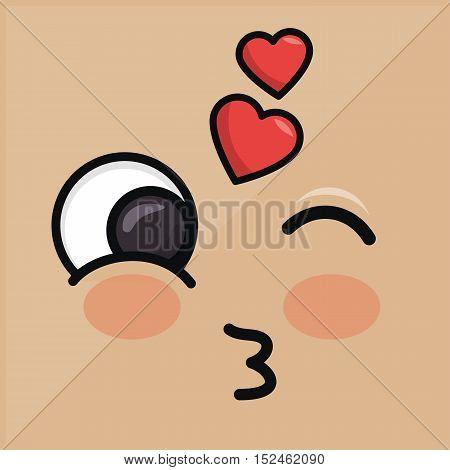 lovely heart emoticon winking eyes vector illustration eps 10