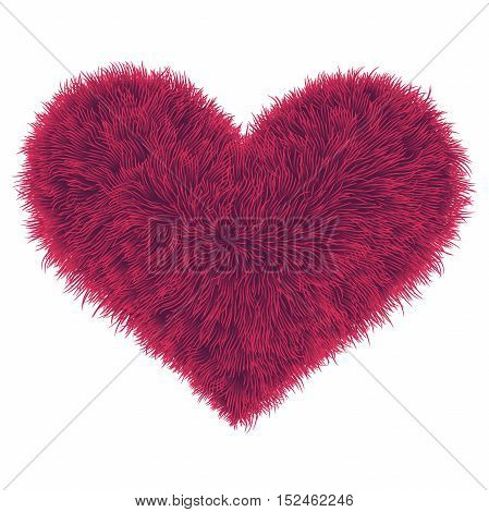 Valentine Fur Pink Heart On White Background, Vector Illustration