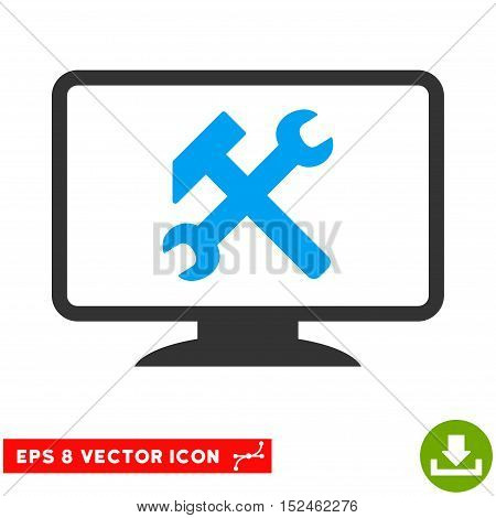 Desktop Settings EPS vector pictogram. Illustration style is flat iconic bicolor blue and gray symbol on white background.