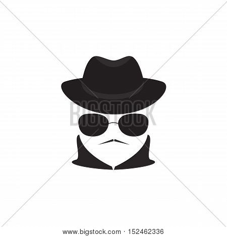 Avatar man in a hat and sunglasses. Secret Agent icon.