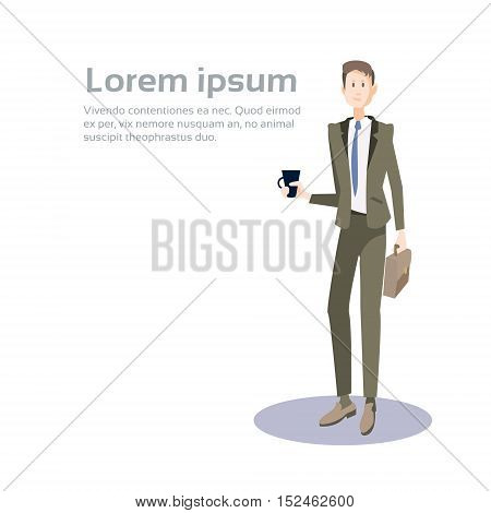 Business Man Manager Hold Cup Suitcase, Businessman Coffee Break Banner With Copy Space Flat Vector Illustration
