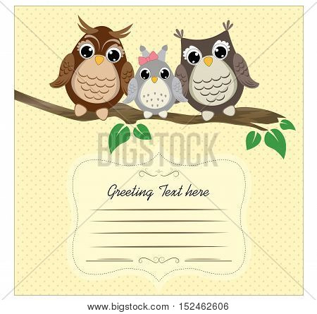 Three cute owls on a tree branch Template for greeting card or cover of notebook. Vector background with family of owls on the branch.