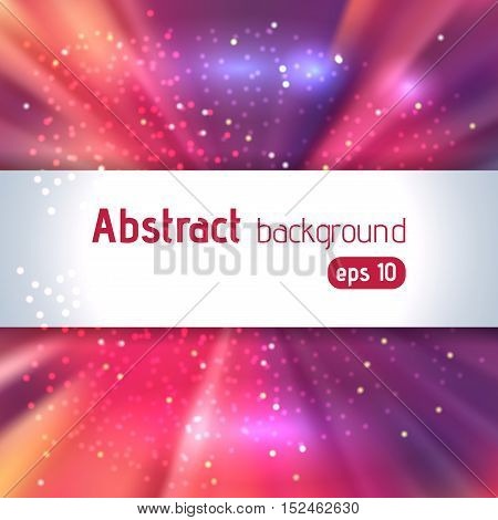 Background With Colorful Light Rays. Abstract Background. Vector Illustration. Pink, Purple, Orange,