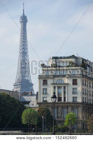 View at famous Tour Eiffel in sunny autumn day Paris France