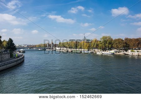 The river Seine in the historical centre of Paris the capital and most popular city of France