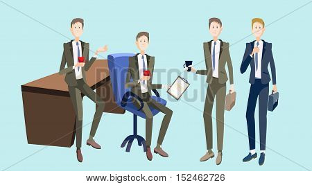 Smiling Business People Group Team Meeting Office Interior Teamwork Collaboration Flat Vector Illustration