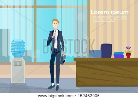 Business Man Office Workplace, Businessman Hold Suitcase Flat Vector Illustration