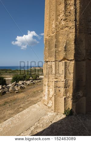 Sea And Greek Column In Selinunte Sicily Italy