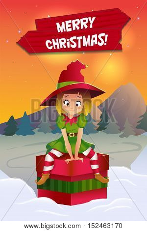Merry christmas colorful card design, Santa Claus elf helper
