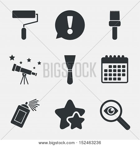 Paint roller, brush icons. Spray can and Spatula signs. Wall repair tool and painting symbol. Attention, investigate and stars icons. Telescope and calendar signs. Vector