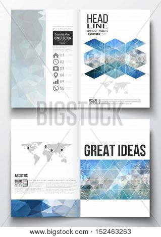 Set of business templates for brochure, magazine, flyer, booklet or annual report. Abstract blue polygonal background, colorful backdrop, modern stylish vector texture.
