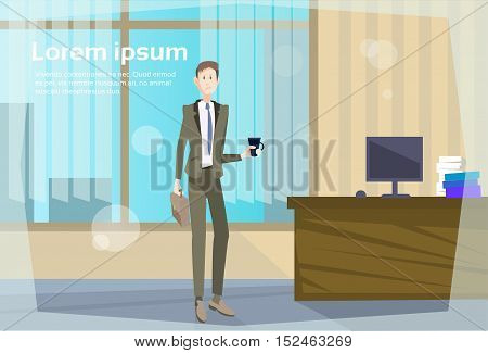Business Man Office Workplace, Businessman Hold Cup Coffee Break Flat Vector Illustration