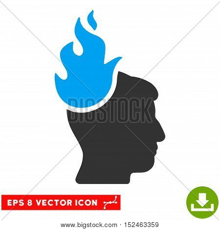 Fired Head EPS vector pictogram. Illustration style is flat iconic bicolor blue and gray symbol on white background.