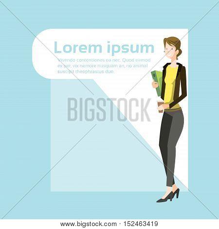 Businesswoman Smile, Standing Hold Folder Full Length Business Woman Flat Vector Illustration