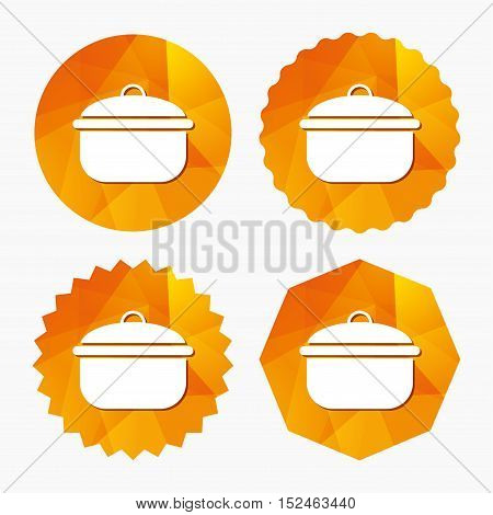 Cooking pan sign icon. Boil or stew food symbol. Triangular low poly buttons with flat icon. Vector