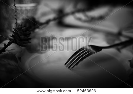 black and white picture fork on an empty plate dining