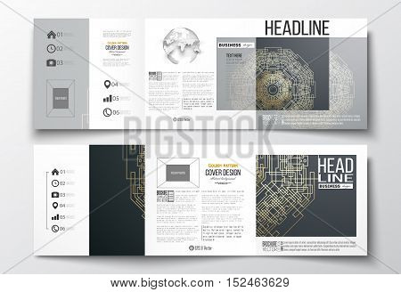 Set of tri-fold brochures, square design templates with element of world globe. Round golden technology pattern on dark background, mandala template with connecting lines and dots.